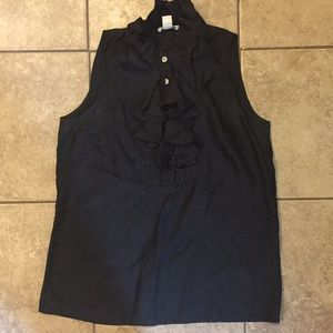Black Jcrew Sleeveless ruffle blouse